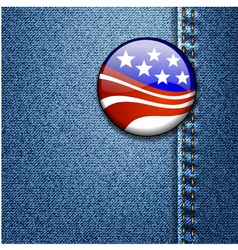 American usa flag badge on jeans denim vector