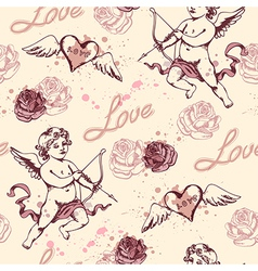 Vintage seamless pattern with cupid for valentines vector