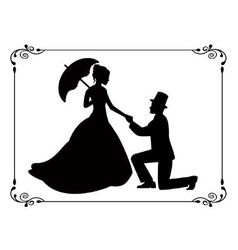 Retro silhouettes of people in love in a frame vector
