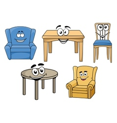 Cartooned furniture set with smiles vector
