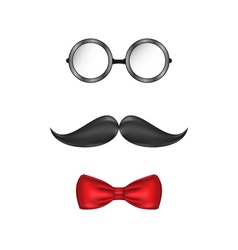 Hipster symbolic of a man face glasses mustache vector