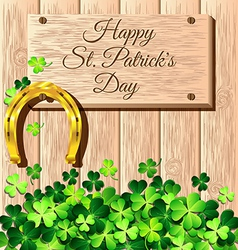 St patricks day frame with gold horseshoe on vector