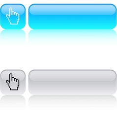 Pixel hand square button vector