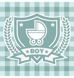 Blue baby stroller invitation vector