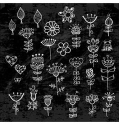 Set of the flower elements drawn with chalk vector