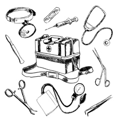 Doctor medical accessories sketch icons set vector