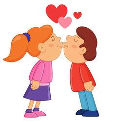 Boy and girl kissing vector