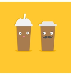 Two disposable coffee paper cups with eyes vector