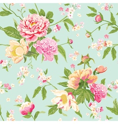 Vintage peony flowers background vector