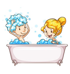 A girl and a boy at the bathtub vector