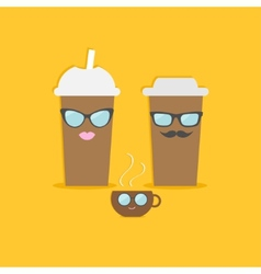 Two disposable coffee paper cups and tecup with vector