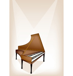 A retro harpsichord on brown stage background vector