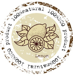 Grunge rubber stamp with lemon shape vector