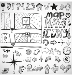 Navigation hand drawn doodles vector