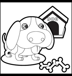 Cute dog with dog house and bones vector