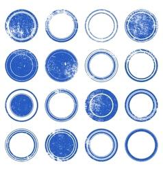 Blue ronded grunge stamp vector