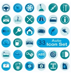 Set of round auto icons vector
