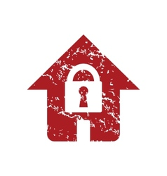 Red grunge lock house logo vector
