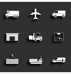 Vehicle transport and logistics flat icons vector