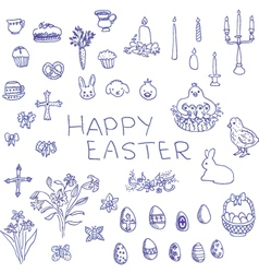 Big set of hand-drawn sketchy easter objects vector