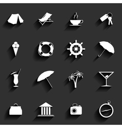 Traveling and vacation flat icons vector