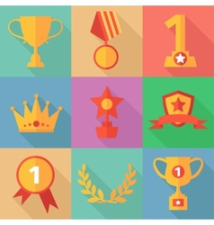 Success concept icons in flat design style vector