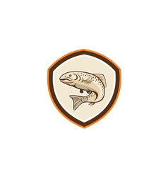 Rainbow trout jumping cartoon shield vector