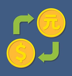 Currency exchange dollar and yuan vector