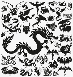Set of black dragons vector