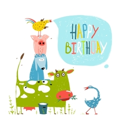 Birthday fun cartoon farm animals pyramid greeting vector