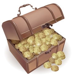 Chest with coins vector