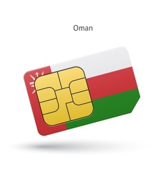 Oman mobile phone sim card with flag vector