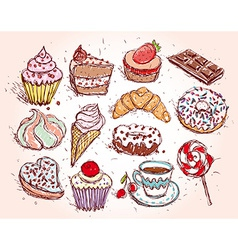 Hand drawn confectionery set croissant cupcake vector