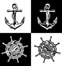 Anchor wheel art vector