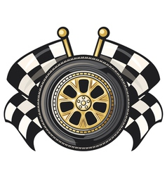 Sports race design- racing checkered flag crossed vector
