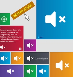 Mute speaker sound icon sign metro style buttons vector