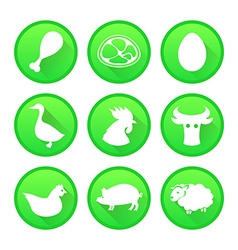 Set of farm and agriculture icons in green color vector