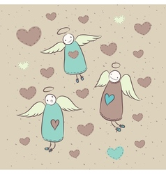Cute cartoon card with angels and hearts vector