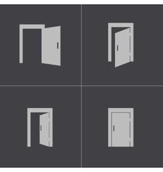 Black door icons set vector