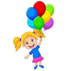 Young girl cartoon flying with balloon vector