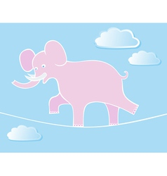 Elephant walks by tightrope vector