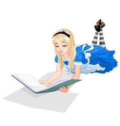 Alice reading a book vector