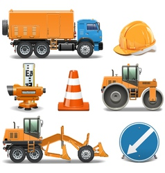 Road construction icons vector