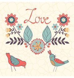 Elegant love card with birds and floral wreath vector