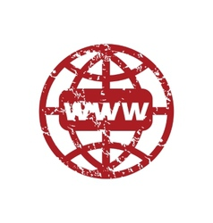 Red grunge www world logo vector