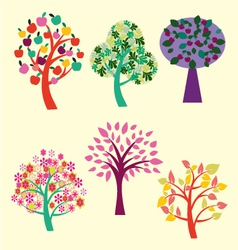 Beautiful trees collection vector