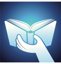 Book icon - hands holding textbook vector