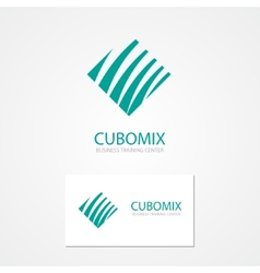 Logo with a combination of cube and waves vector