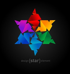 Rainbow origami star on black background vector