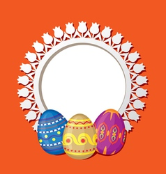Frame with easter eggs vector